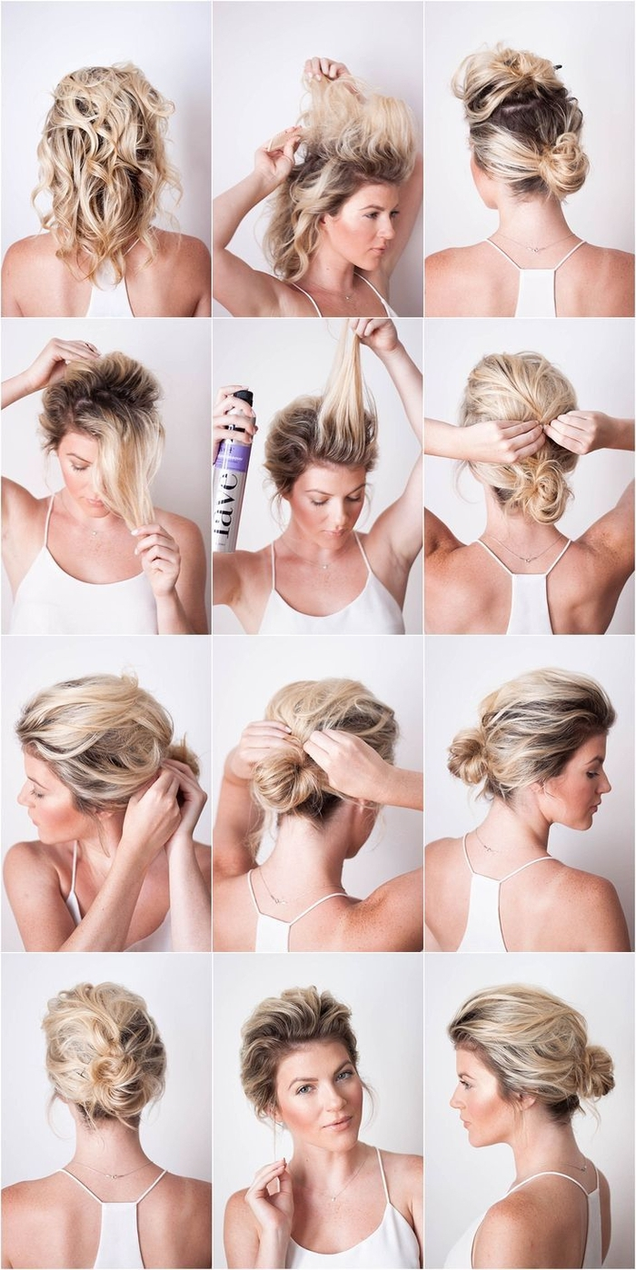 idée de coiffure cheveux courts avec des cheveux ramassés en chignon bas, comment créer du volume en haut de la tête