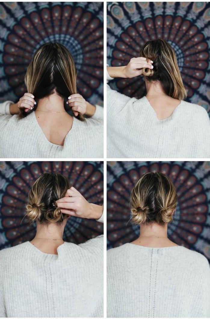 tuto coiffure cheveux courts pour un look de jeune fille avec des chignons bun symétriques en bas de nuque