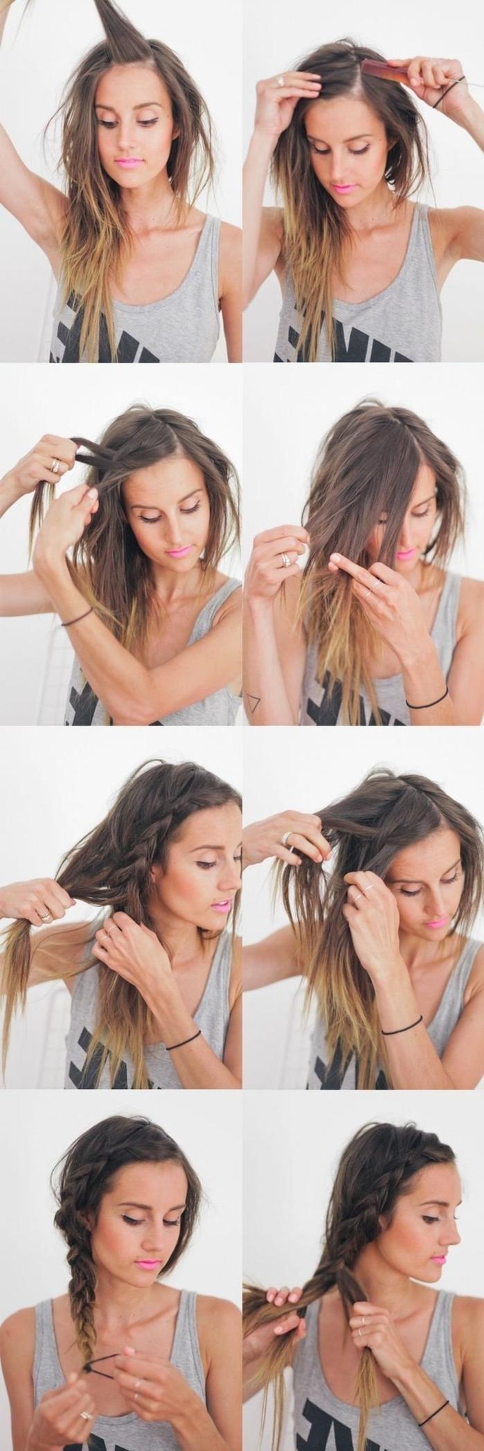 tuto coiffure tresse bohème à effet décoiffé portée sur le côté