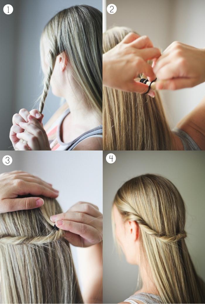 une coiffure simple et rapide avec deux mèches torsadées attachées en arrière pour magnifier une longue crinière lisse