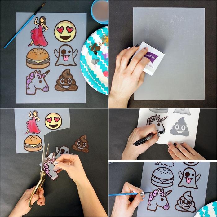 des stickers emojis réalisés au four sur une feuille plastique, activité manuelle adulte pour customiser ses vêtements