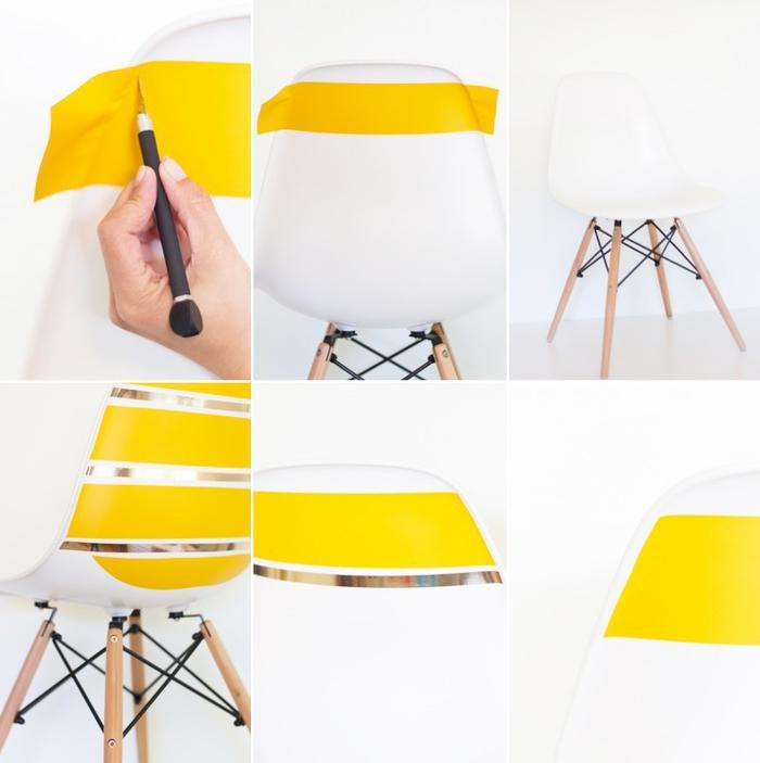 tuto facile pour relooker des chaises blanches à l'aide du ruban vinyle jaune fluo et or