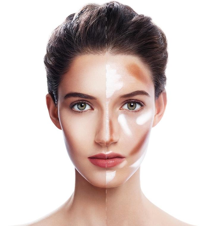 contouring facile, apprendre à se maquiller selon sa morphologie, femme aux cheveux marron et yeux verts