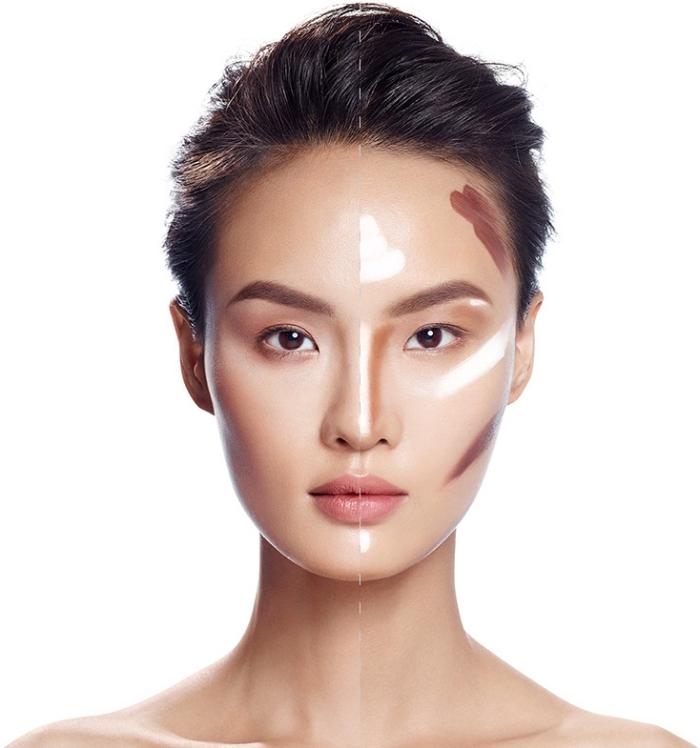 contouring maquillage, maîtriser les techniques de maquillage base avec highlights, femme aux cheveux brun et yeux marron