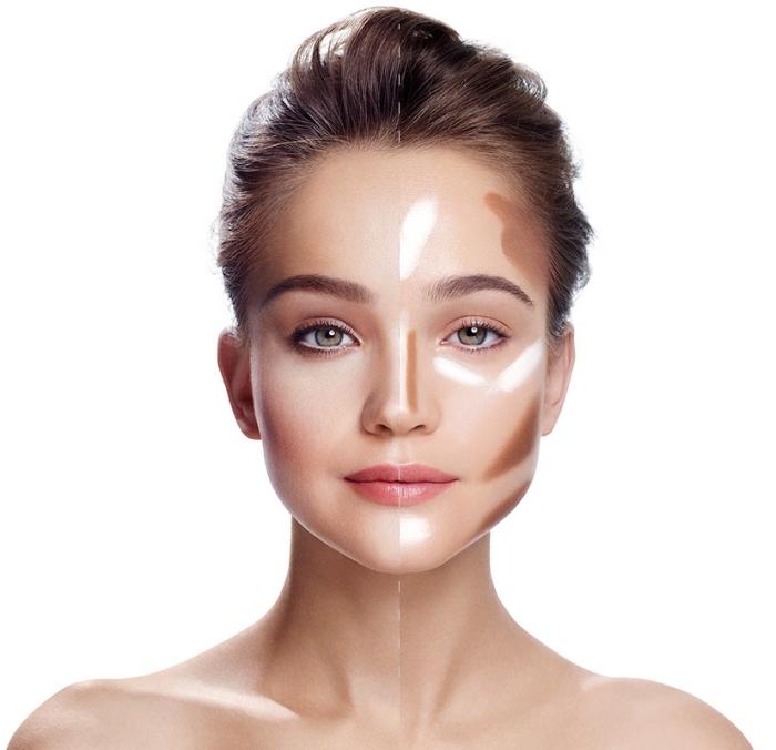 contouring maquillage, dessiner les lignes de contouring selon la forme de visage, fond de teint clair et foncé