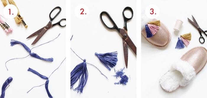 idée géniale de tuto couture facile pour débutants, customiser des pantoufles douillettes avec des pompons en fils de coton