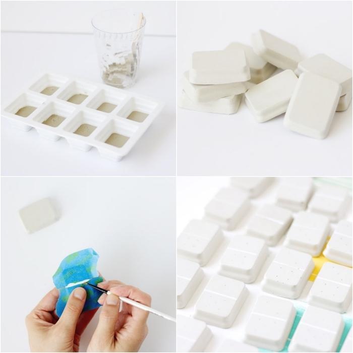 des travaux manuels pour adultes à partager avec nos invités, un jeu de domino diy réalisé en béton
