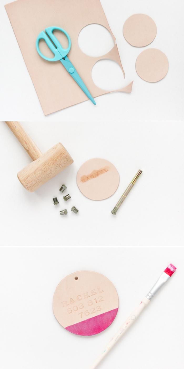 tuto de bricolage d'une étiquette à bagages en cuir personnalisée, idée créative pour une activité manuelle adulte