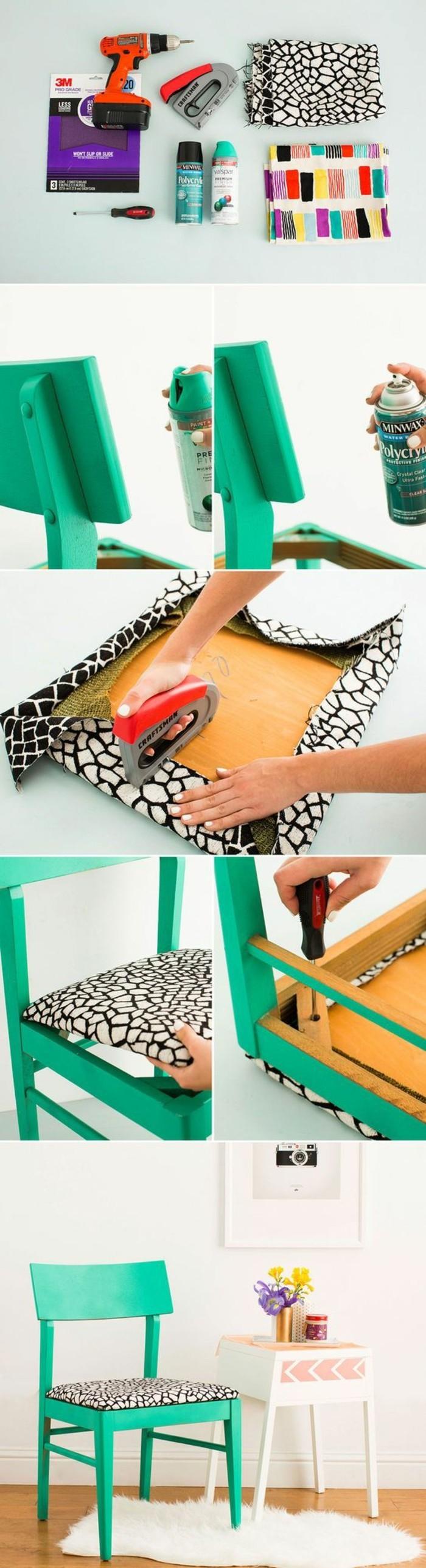 restaurer une chaise chinée à quelques coups de peinture verte, siège revêtu de tissu imprimé en noir et blanc