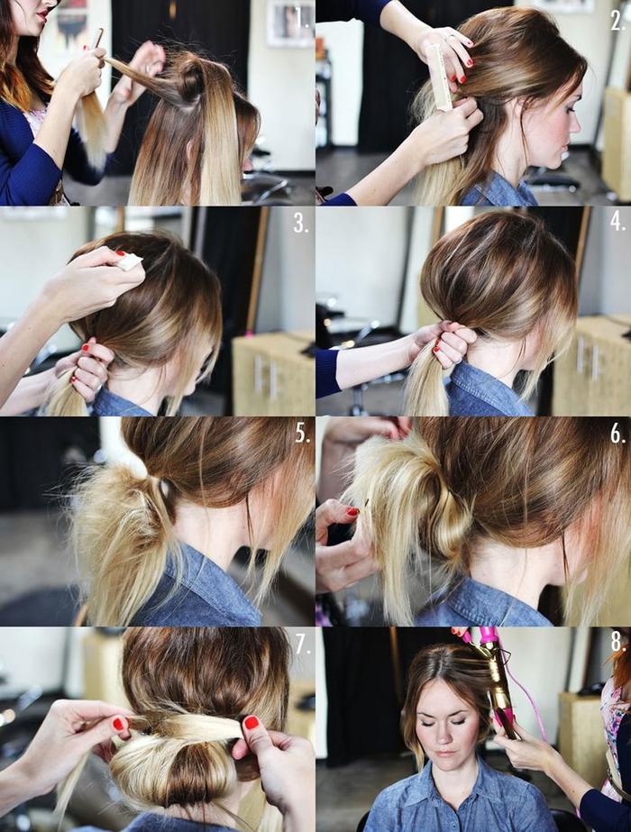 tuto coiffure avec chignon facile réalisé en bas de la nuque à partir d'une queue-de-cheval avec un effet de volume en haut de la tête