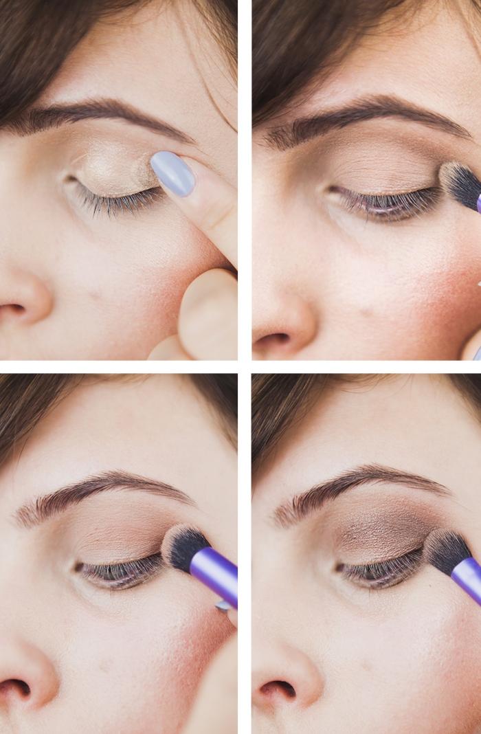 maquillage yeux, étapes à suivre pour réaliser un maquillage yeux smoky en nuances neutres, fards à paupières palette nude