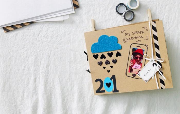exemple d'album photo personnalisé pour souvenirs de vacances, matériaux pour faire un album scrapbooking