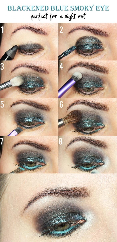 tutoriel pour réaliser un maquillage aux yeux smoky, maquiller les yeux verts avec fards à paupières verts