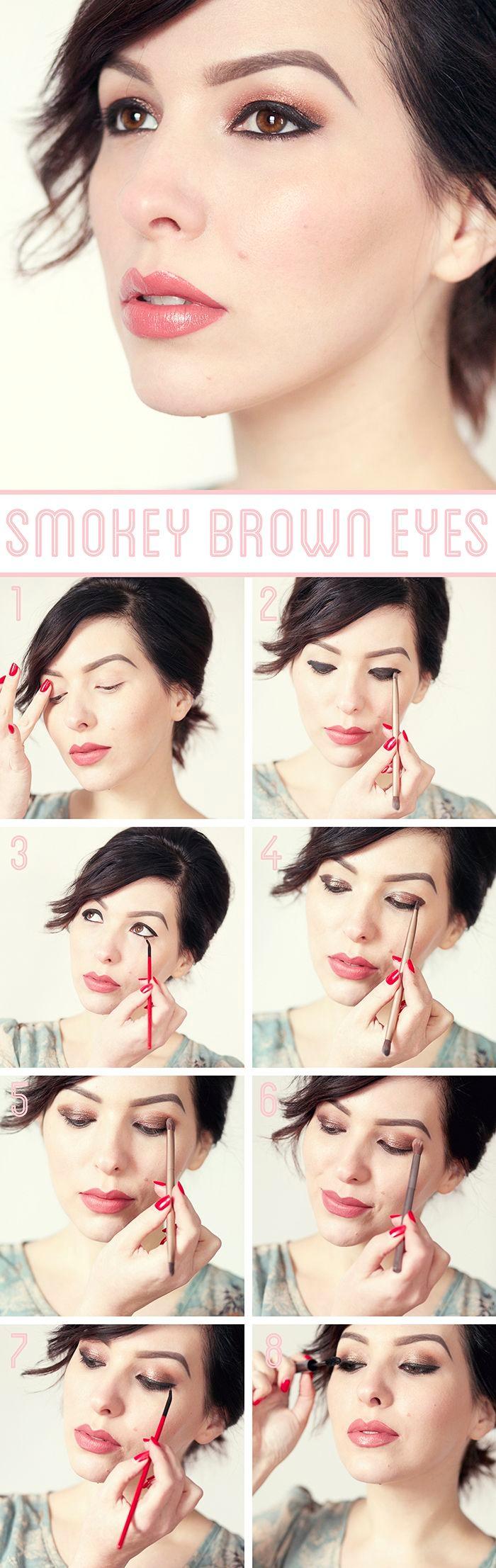 technique maquillage yeux marrons, femme aux yeux marron et lèvres rose, contouring visage facile avec fond de teint pêche