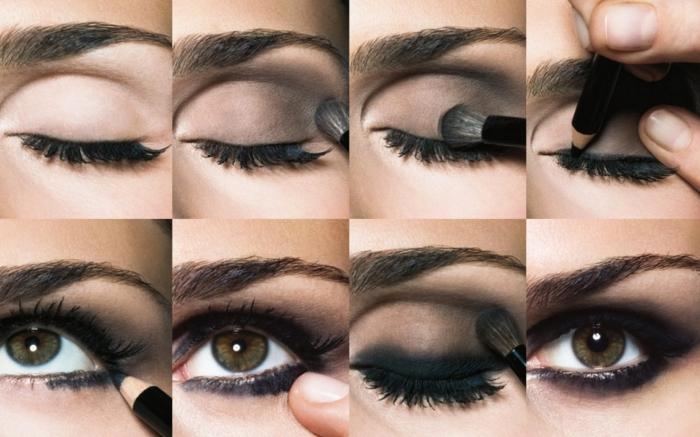 comment maquiller ses yeux, étapes à suivre pour réaliser un maquillage yeux smoky verts, fards à paupières foncées avec crayon noir