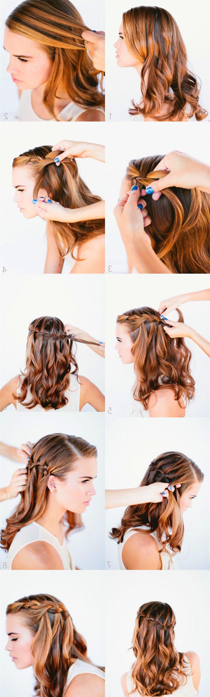 comment se faire une tresse cascade sur cheveux longs ondulés, tuto coiffure tresse réalisé en peu de temps