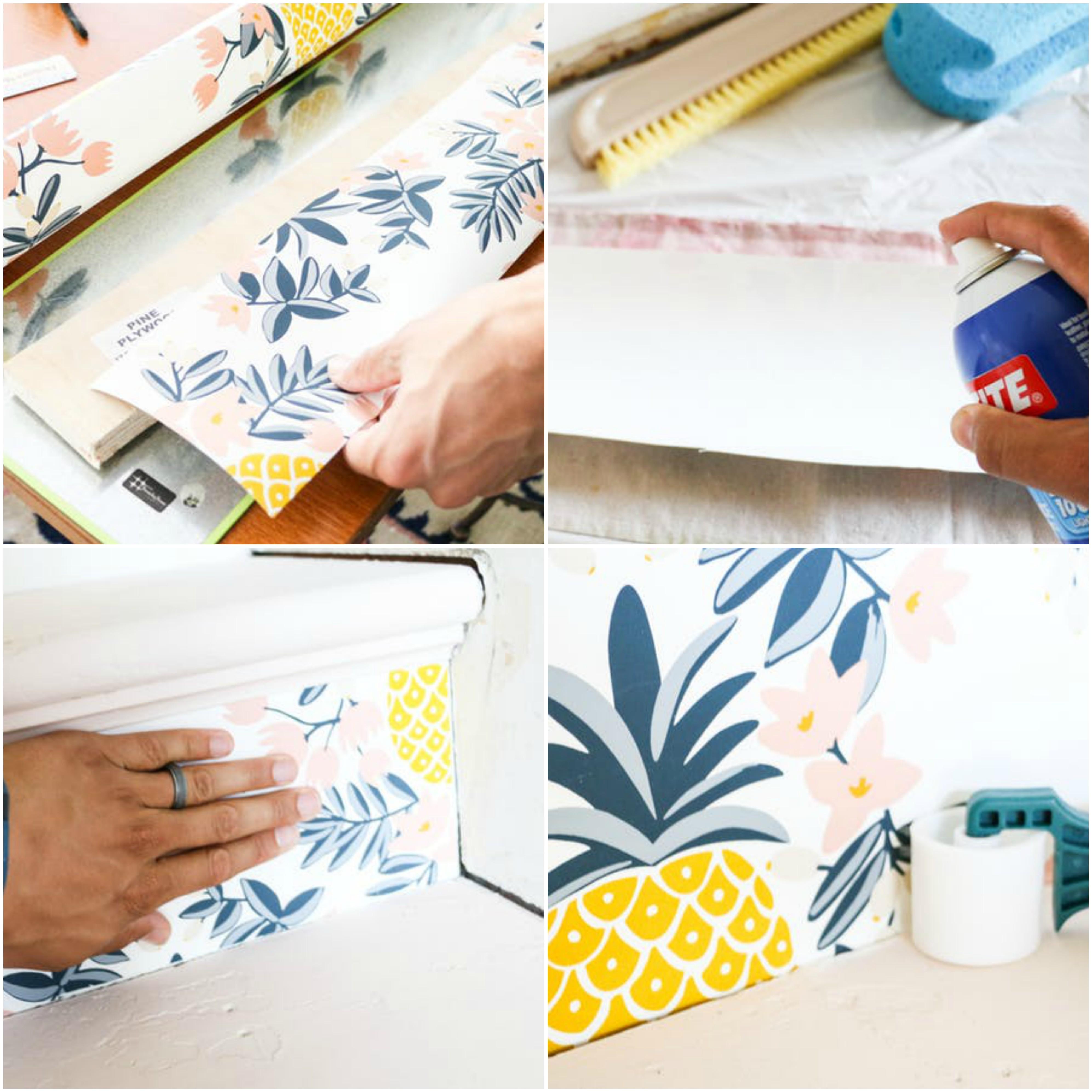 tutoriel comment renover un escalier avec du papier peint, motif tropical, appliqué à l aide de colle sur les contremarches