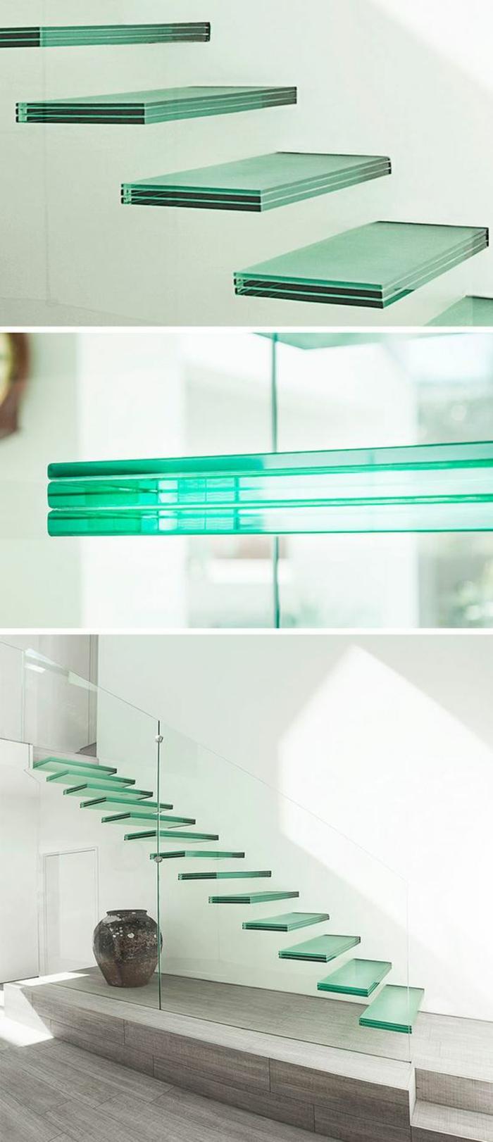 escalier design avec des marches suspendues en verre aux nuances vert bouteille, maison moderne, ameublement en style minimaliste