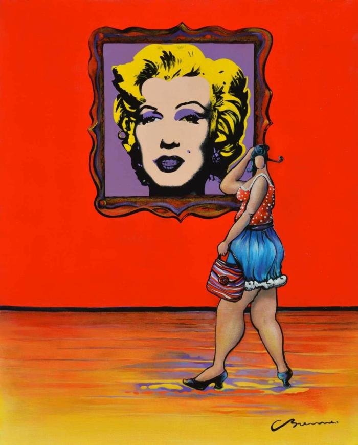 Julie devant Andy Warhol de Charles Brenner oeuvre aux couleurs pop art à la limite au-delà du réel