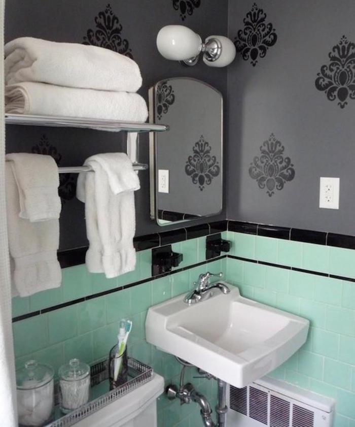 idées couleurs pour salle de bain vert et gris