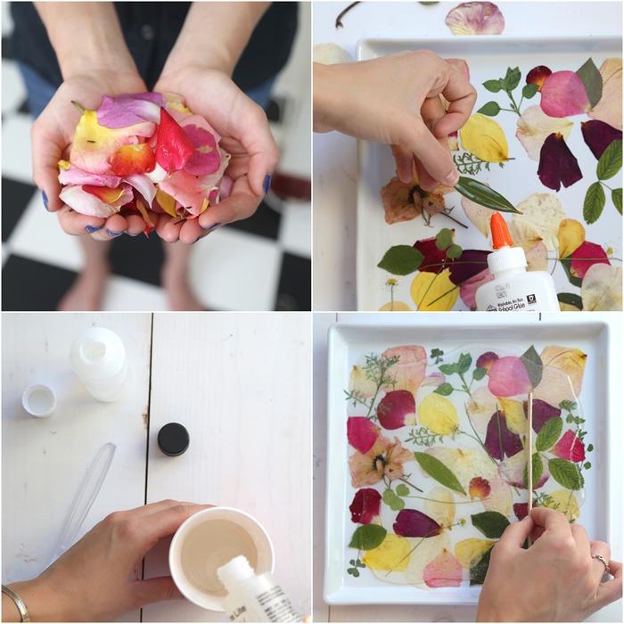 tuto facile pour personnaliser un plateau avec des pétales séchées, idée originale pour une activité manuelle printemps sur thème nature