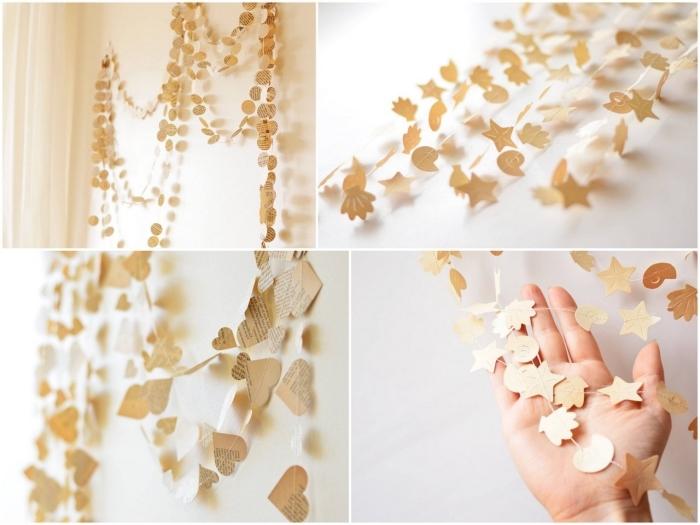 decoration de noel fait main, guirlande avec cercles et coeurs en papier doré, décoration de chambre beige fille