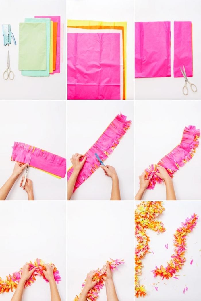 faire une guirlande en papier, tutoriel avec photo pour réaliser une décoration de chambre en rose et orange