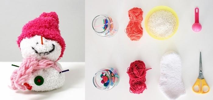 activité manuelle bonhomme de neige, tutoriel et matériaux nécessaires pour faire une figurine de Noel