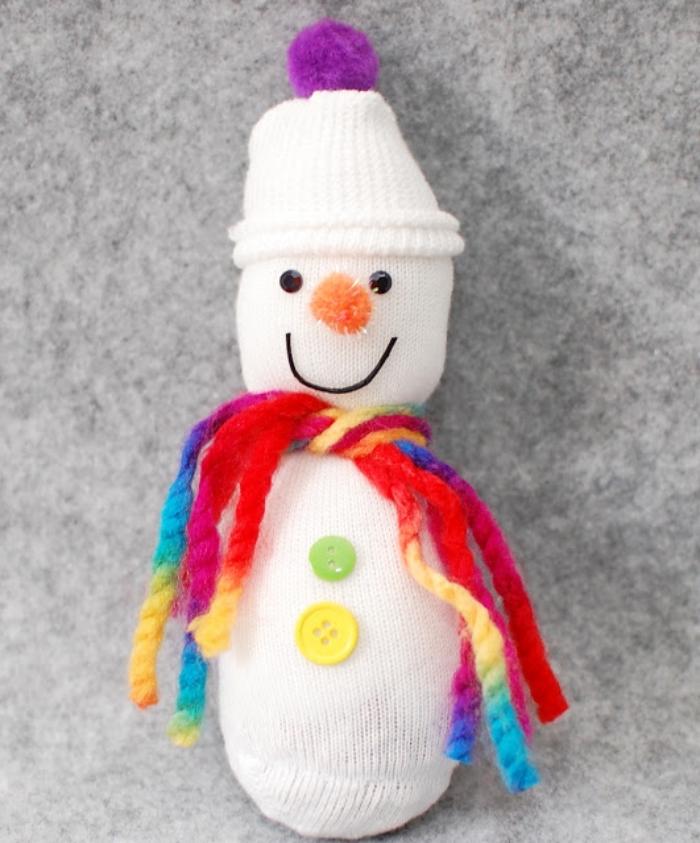 bonhomme de neige en laine, instruction en image pour faire une figurine blanche en chaussette et fils