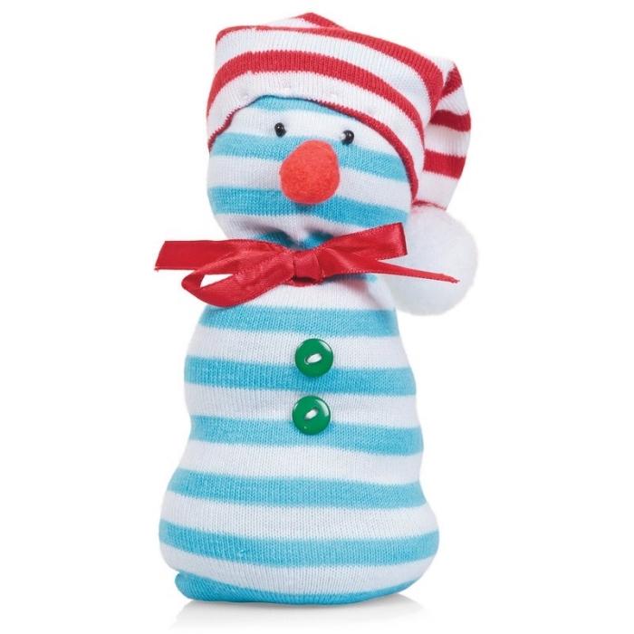 activité manuelle bonhomme de neige, objet décoratif pour Noel à corps rayé en blanc et bleu