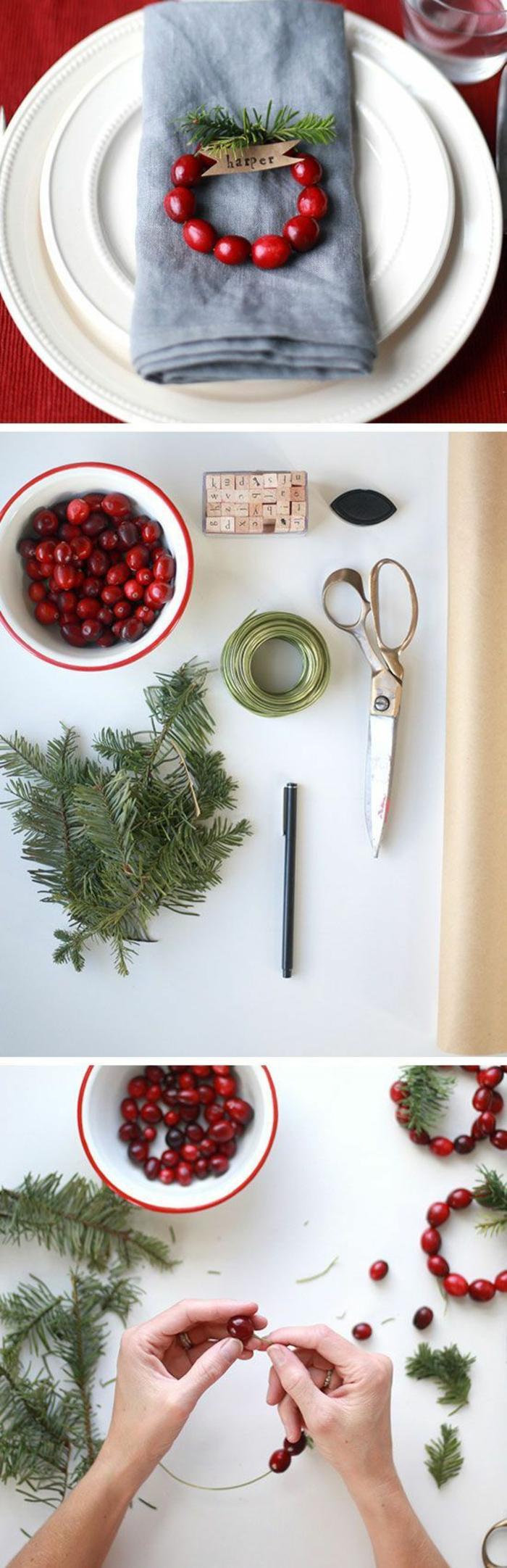 déco de noël à faire soi même facile, des marques places aux fruits minuscules rouges et des branches de sapin, déco pour poser sur la serviette sur l'assiette des invités