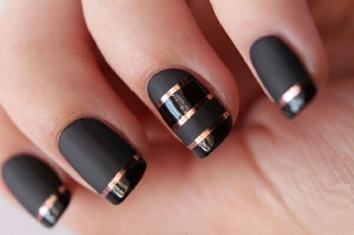 Belle déco ongles vernis effet mat nail arts décoratif ongle french original noir et doré