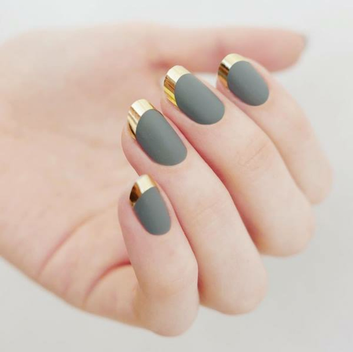 French original matte base vert vernis semi-permanent french noir brillante sur base vert mat et liseret dore