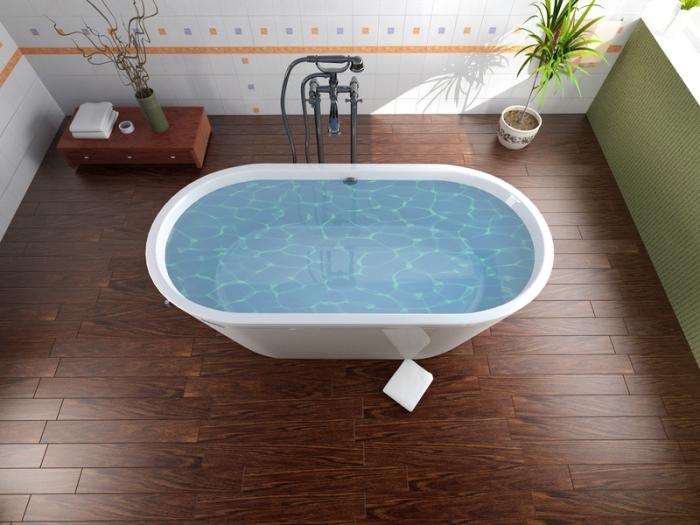 idee deco salle de bain, revêtement de plafond en bois foncé et carrelage mural en blanc et orange