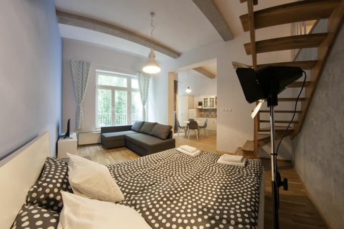 studio spacieux avec espace mezzanine, et grand lit au-dessous