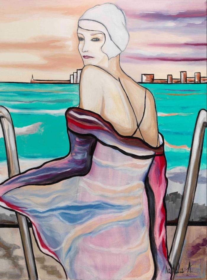artiste contemporain Nathalie Archambeau avec une oeuvre en teintes pastels avec du rouge ici et là, femme avec robe au dos nu qui contemple la mer