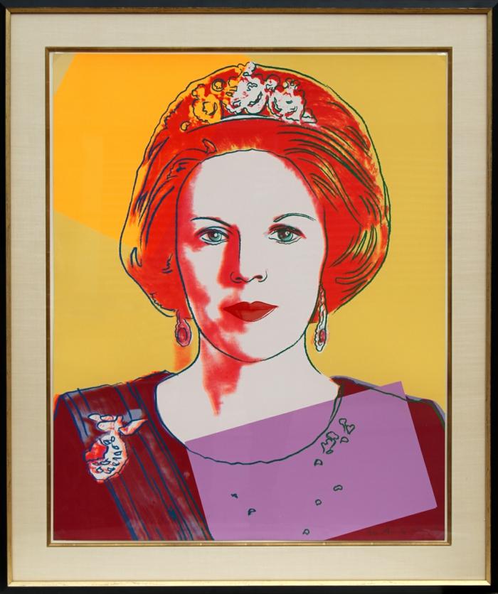 art contemporain Andy Warhol Queen Beatrix of the Netherlands portrait en rouge, jaune, bordeaux et violet