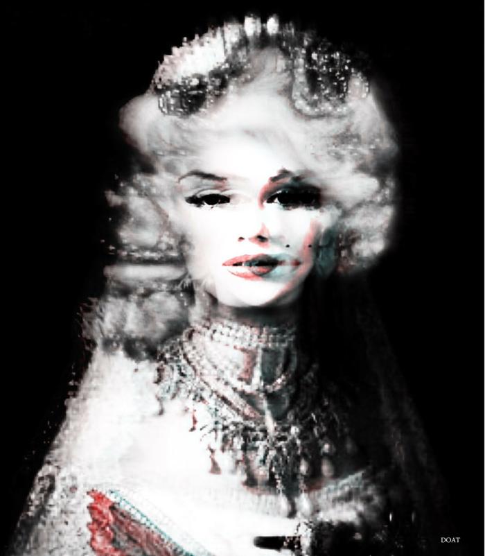 Franck Doat, collection Marilyn reine figure noble en habits et colliers de reine