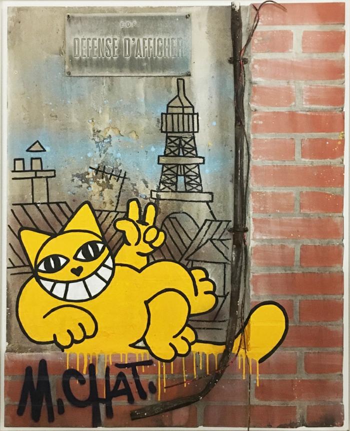 artiste contemporain M. Chat, oeuvre avec le titre Défense d'afficher, une peinture qui imite le style des murs urbains, avec les grafittis