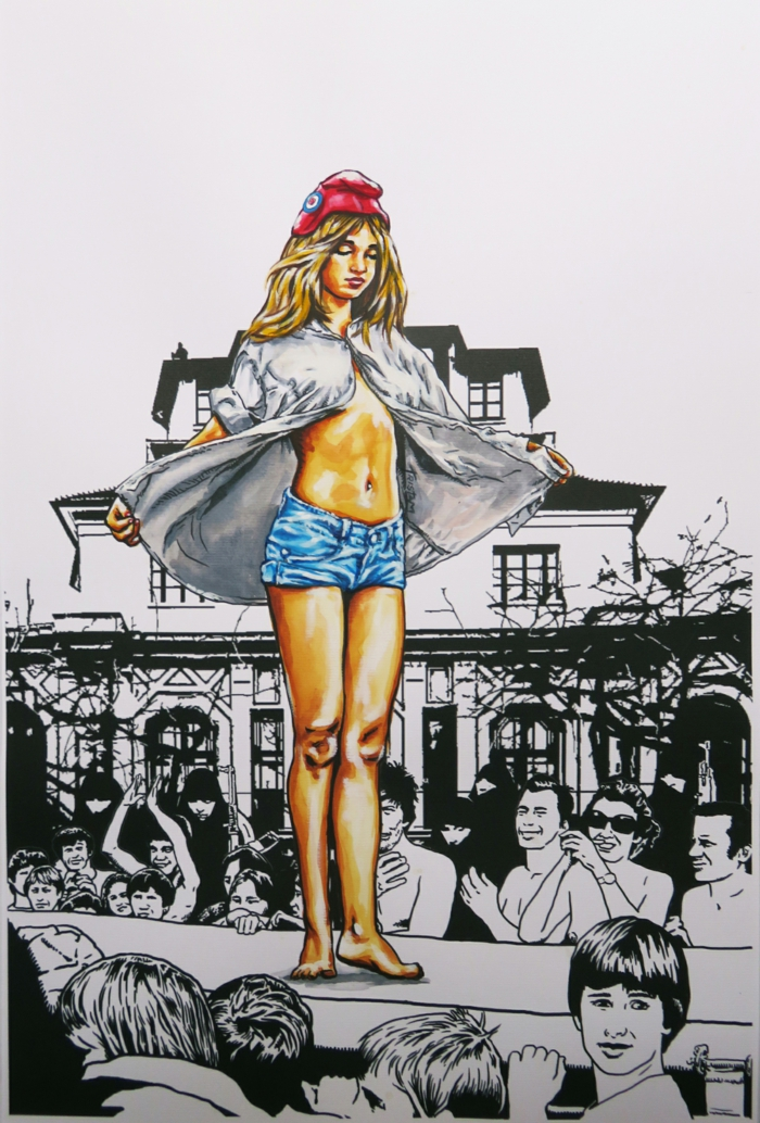 artiste contemporain La république française défile dans un défilé de mode oeuvre de Tristam en noir et blanc et personnage féminin en couleurs