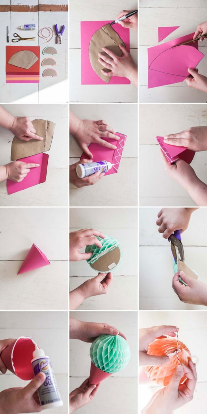 loisir creatif, tutoriel pour fabriquer une décoration de fête à design crème glacée en papier et carton
