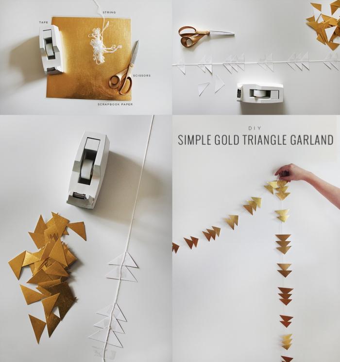 décoration de noel à faire soi même, guirlande dorée en papier et aux motifs triangulaires fabriquée à la main