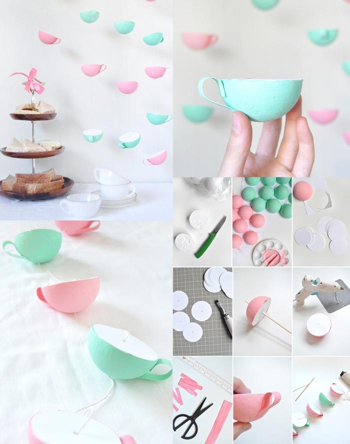loisir creatif, tutoriel avec photos et instruction pour faire une décoration festive à thème goûter en pastel