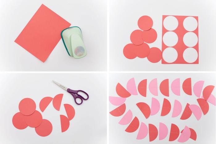 activité manuelle pour ado, tutoriel pour faire une décoration de fête facile avec papier rose et rouge