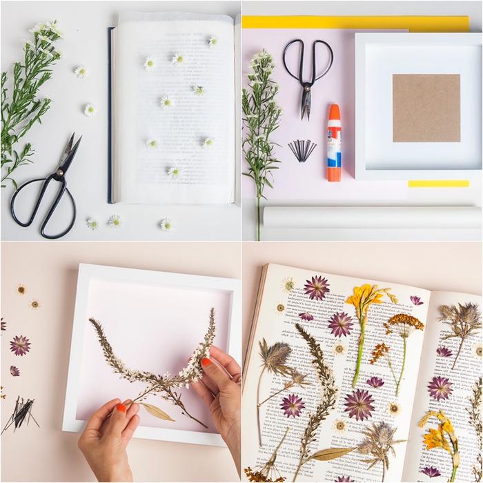 comment réaliser un tableau avec des fleurs pressées et sans verre de protection, activité manuelle printemps pour conserver des fleurs et les transformer en jolie déco