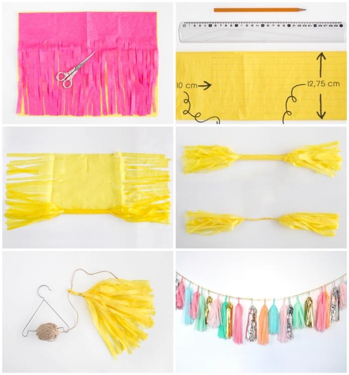 activité créative, tutoriel facile pour faire une déco de fête multicolore en papier de soie rose et jaune
