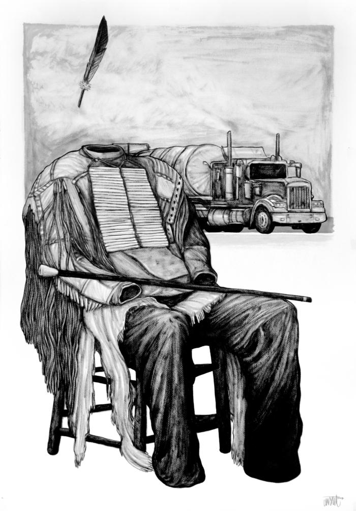 contemporain art artiste contemporain Levalet oeuvre provocation en noir et blanc Le nouveau monde personnage sans tête