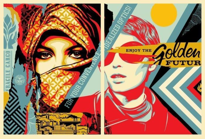 art contemporain Shepard Fairey la femme vue dans l'optique des mondes et des mœurs différents