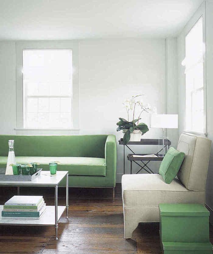 décoration salon style scandinave blanc et vert mentholée