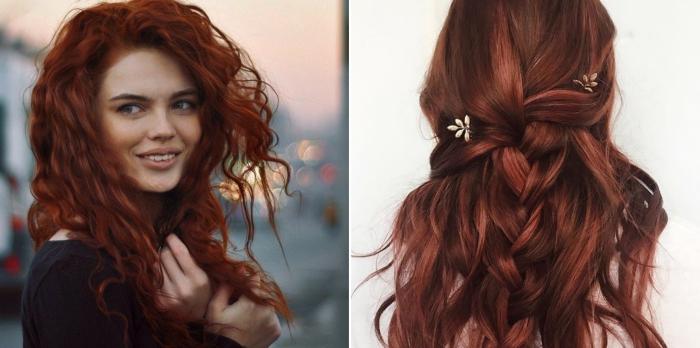 coloration cheveux auburn, visage féminin avec taches de rousseur et maquillage naturel en rouge à lèvres nude